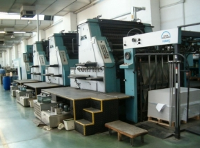 Offset printing machine ROLAND R 805-6 + L,  5 colour+coater